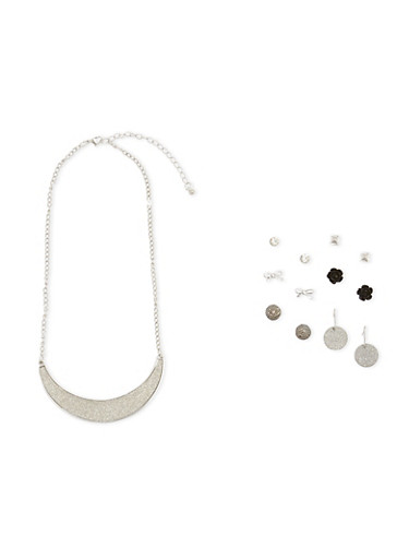 Assorted Stud Earrings and Glitter Necklace Set,SILVER,large