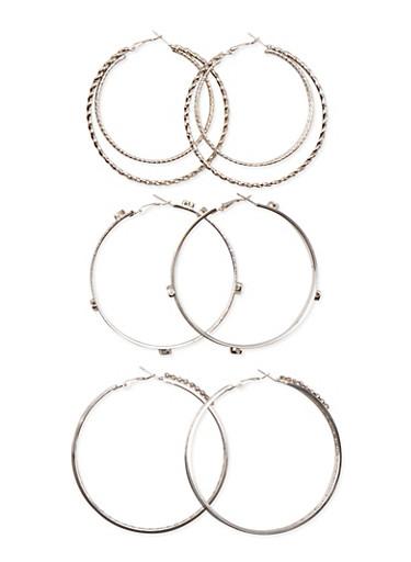Set of 3 Embellished Hoop Earrings,SILVER,large