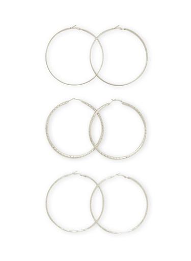 Set of 3 Textural Hoops Earrings,SILVER,large