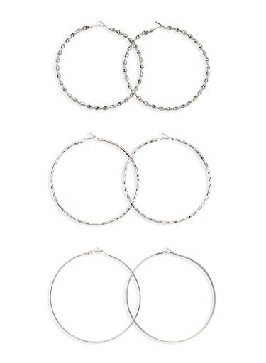 Set of 3 Hoop Earrings with Textural Finishes,SILVER,large