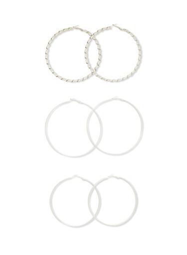 Set of 3 Textural Hoop Earrings,SILVER,large