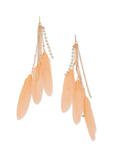 Multi Feather Drop Earrings,BLUSH,large