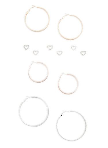 Set of 6 Tri Tone Stud and Hoop Earrings,ROSE,large