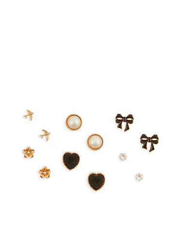 Large Stud Earrings Set of 6,ROSE,large