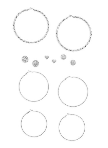 6 Assorted Stud and Hoop Earrings Set,SILVER,large
