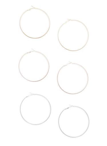 Set of 3 Tri Tone Glitter Hoop Earrings,TRITONE (SLVR/GLD/HEMAT),large