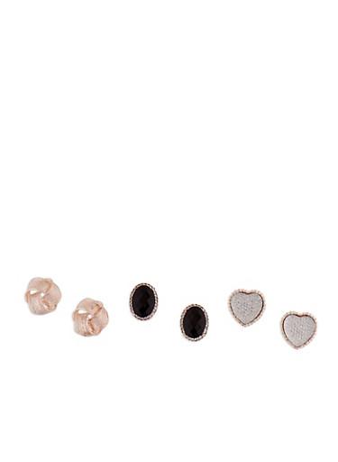 Large Stud Earrings Set,ROSE,large