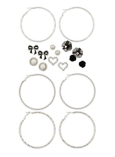 Set of 9 Stud and Hoop Earrings,SILVER,large