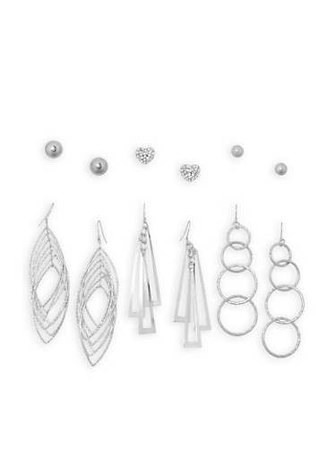 Set of 6 Assorted Stud and Drop Earrings,SILVER,large