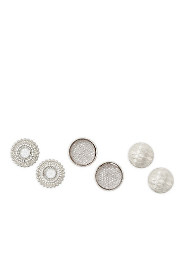 Large Textured Button Earrings Trio,SILVER,large