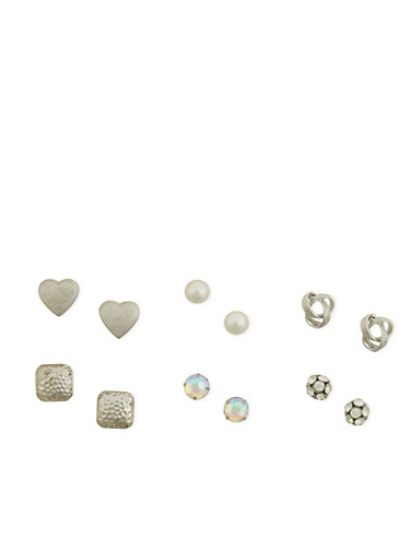 Set of 6 Faux Pearl Rhinestone Stud Earrings,SILVER,large