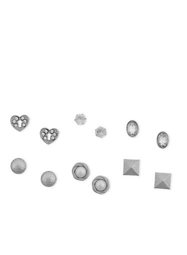 Set of 6 Faux Pearl Rhinestone Stud Earrings,SILVER,large