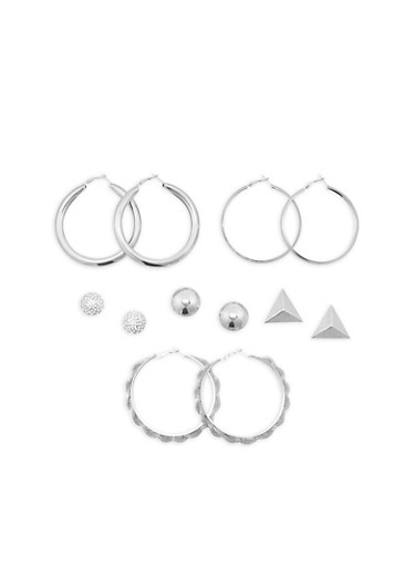 Set of 6 Large Tube Earrings and Stud Earrings,SILVER,large