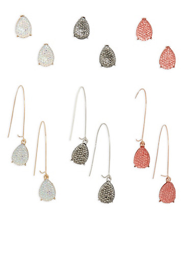 Rhinestone Teardrop Earrings,TRITONE (SLVR/GLD/HEMAT),large