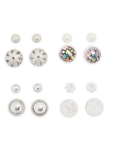 Set of 8 Double Sided and Post Back Stud Earrings,SILVER,large