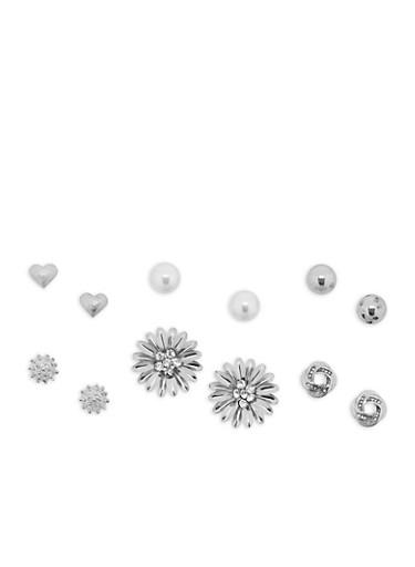 Metallic Flower Stud Earrings Set,SILVER,large