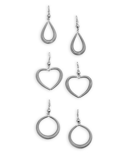 Coiled Drop Earrings Trio,SILVER,large