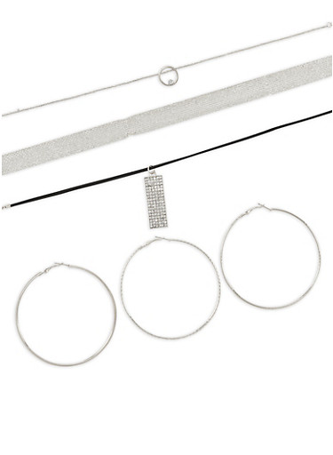 Hoop Earring Trio with Mesh Layered Choker,SILVER,large