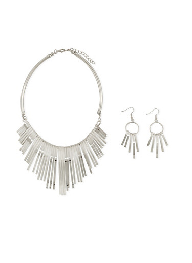 Collar Necklace with Earrings Set,SILVER,large