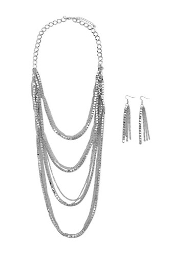 Layered Chain Necklace with Earrings Set,SILVER,large
