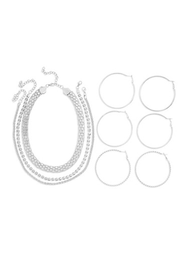 Set of 3 Necklaces and 3 Large Hoop Earrings,SILVER,large