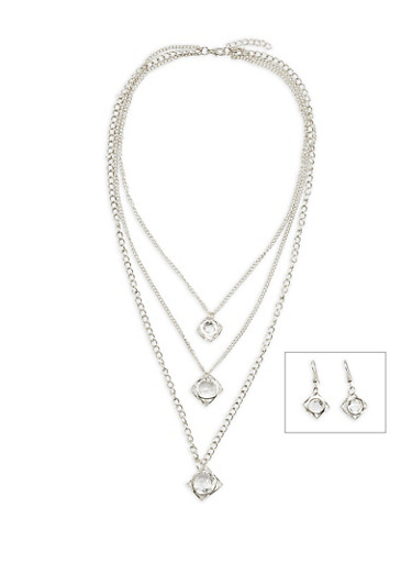 Layered Jewel Charm Necklace with Matching Drop Earrings,SILVER,large