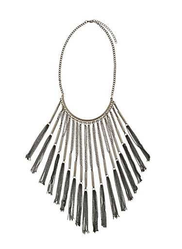 Chain Fringe Necklace,SILVER,large