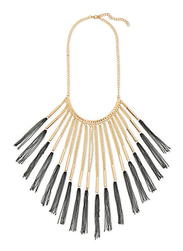 Chain Fringe Necklace,GOLD,large