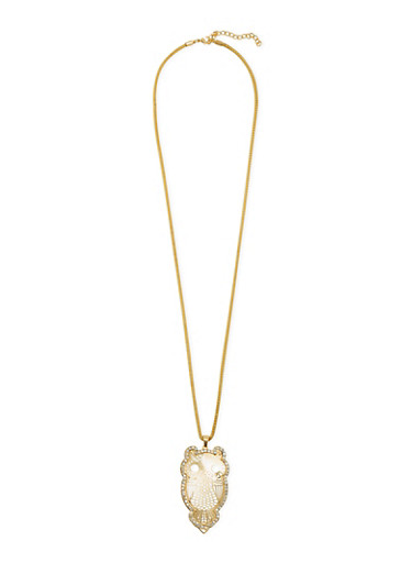 Necklace with Studded Owl Pendant,GOLD,large