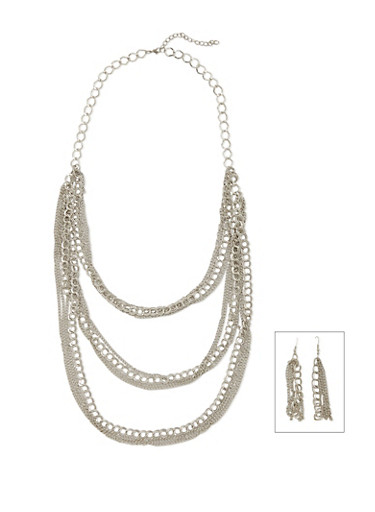 Tiered Necklace and Earrings with Varied Chains,SILVER,large