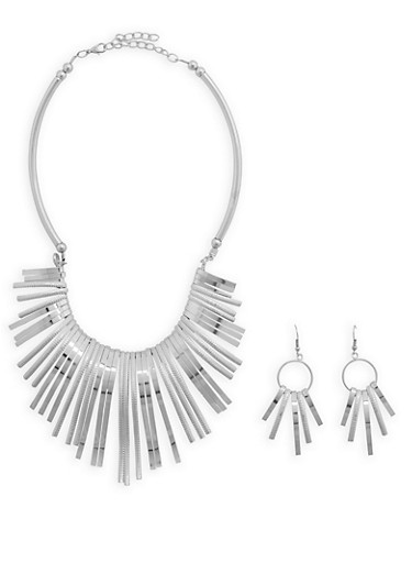 Curved Metallic Fringe Necklace and Earring Set,SILVER,large