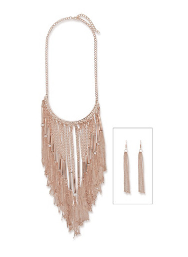 Metallic Fringe Necklace and Drop Earrings,ROSE,large
