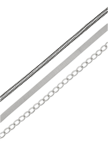 Metallic Mesh Chain Rhinestone Choker Necklace Trio,SILVER,large
