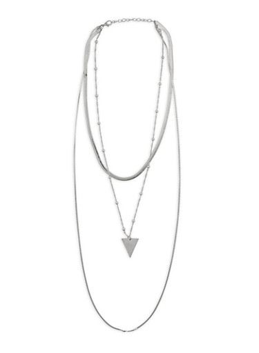 Layered Metallic Triangle Cobra Necklace,SILVER,large