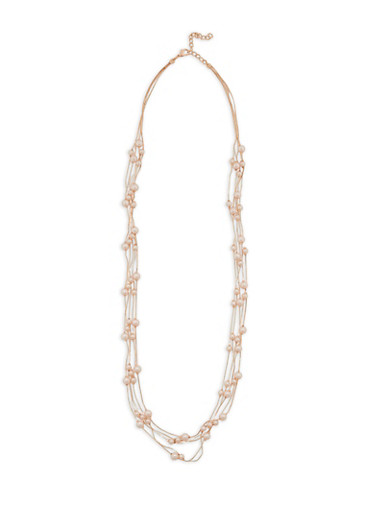 Faux Pearl Beaded Metallic Chain Necklace,ROSE,large