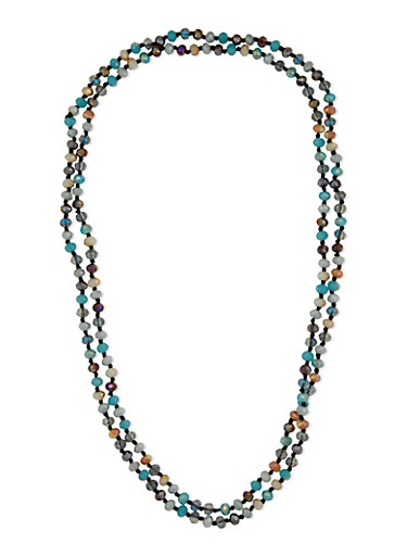 Glass Beaded Necklace,MULTI COLOR,large