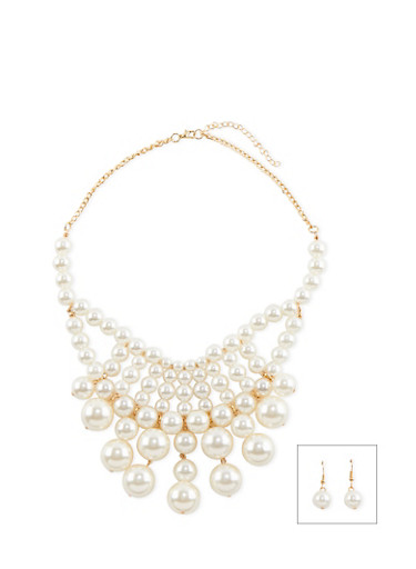 Faux Pearl Bib Necklace and Earrings Set,GOLD,large