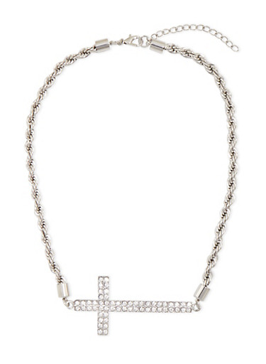 Necklace with Crystal Cross Accent,SILVER,large