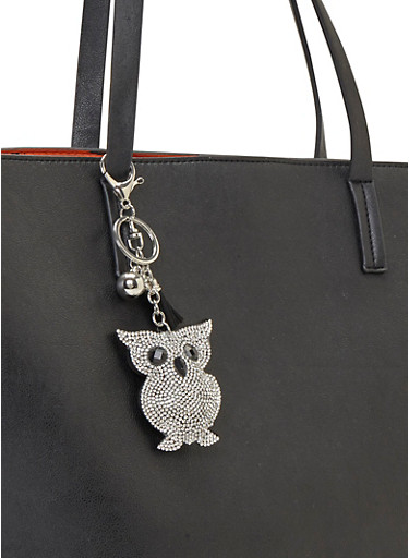 Crystal Covered Owl Bag Charm,SILVER,large