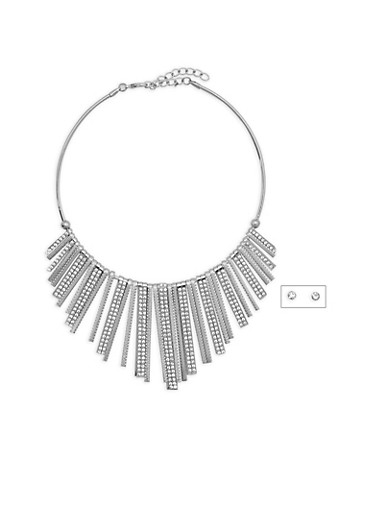 Rhinestone Accented Stick Collar Necklace,SILVER,large