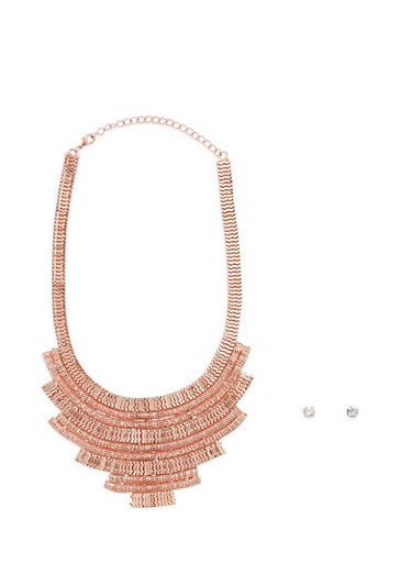 Metallic Mesh Necklace with Stud Earrings Set,ROSE,large