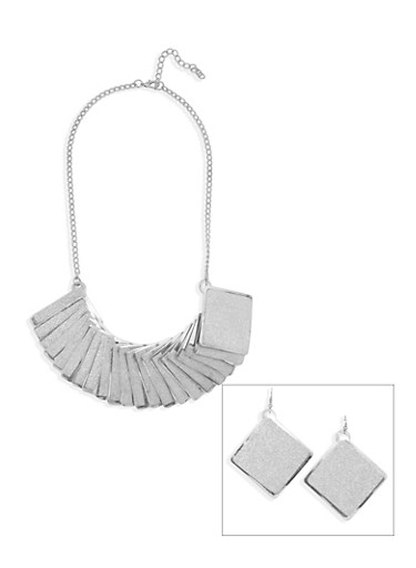 Necklace and Earrings Set with Glitter Accents,SILVER,large