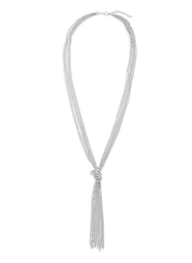 Multi Layered Chain Knot Necklace with Rhinestones,SILVER,large