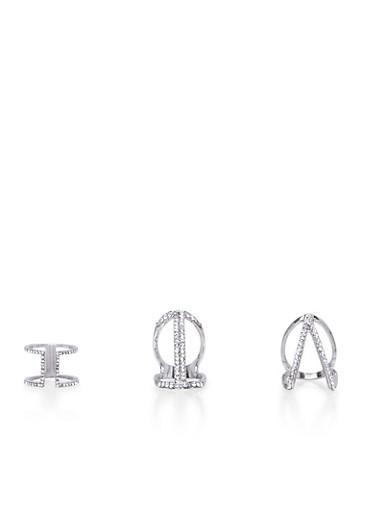 Plus Size Set of 3 Geometric Rhinestone Embellished Rings,SILVER,large