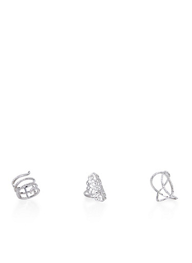 Plus Size Set of 3 Long Rings with Filigree and Snake Motif,SILVER,large