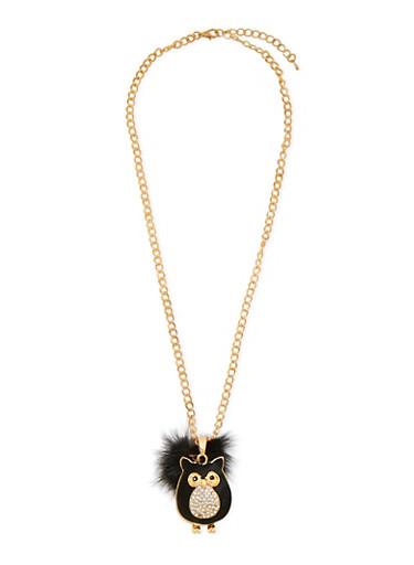 Owl Necklace with Fur Pom Pom,GOLD,large