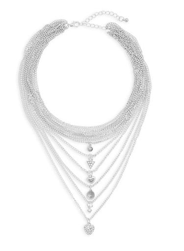Layered Choker Necklace,SILVER,large
