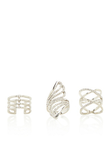 Set of 3 Rings with Rhinestones,SILVER,large