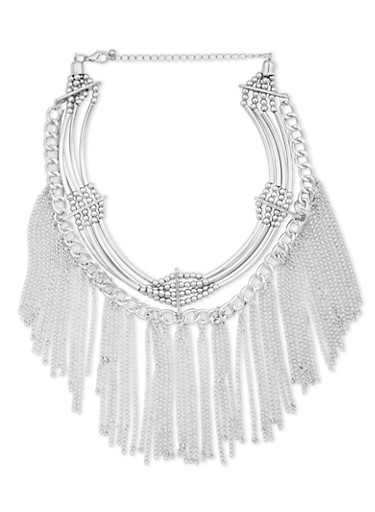 Collar Necklace with Chain Fringe Design,SILVER,large