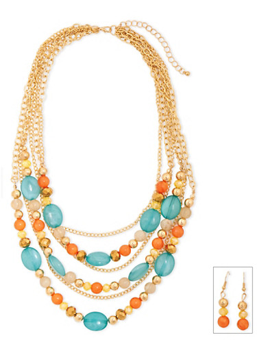 Tiered Necklace and Earrings Set,MULTI COLOR,large